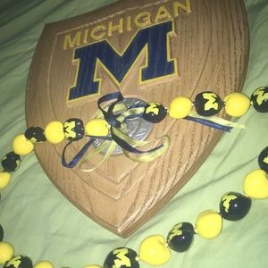 university of michigan plaque + necklace
